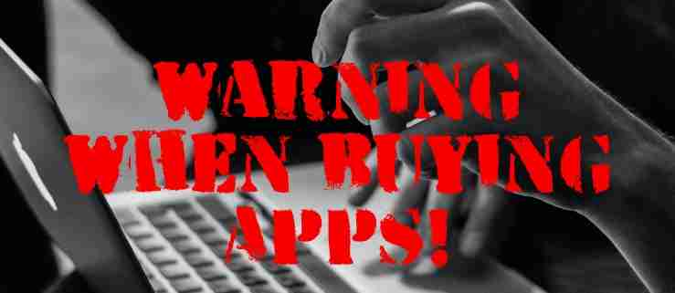 Warning when buying apps
